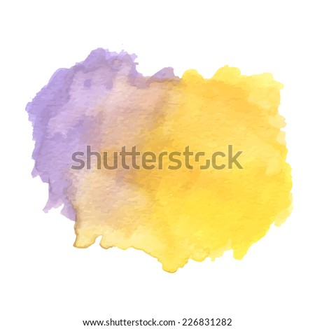 watercolor brush strokes in purple and yellow over white background