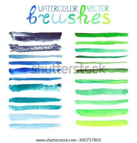 Watercolor brush strokes,texture,line border.Colorful vector.Hand drawing artistic paint art. Bright design template.Natural green,blue colors, summer decor elements. - stock vector