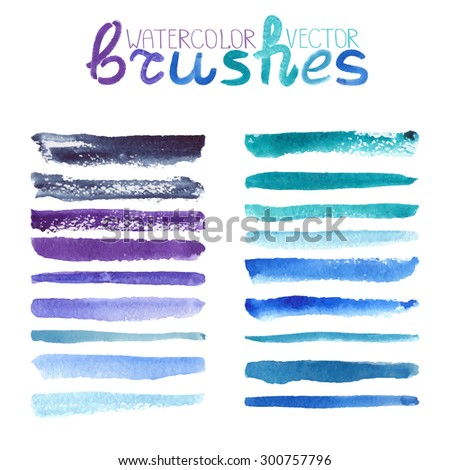 Watercolor brush strokes,texture,line border.Natural vector.Hand drawing artistic paint art. Bright design template.Blue,cyan,violet ,summer decor elements,Ocean wave,sea water. - stock vector