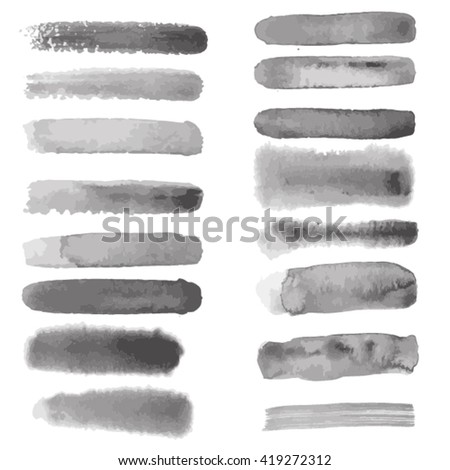 Watercolor brush strokes, Vector watercolor stains - stock vector