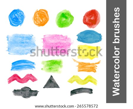 Watercolor brush vector blobs and backgrounds for labels set