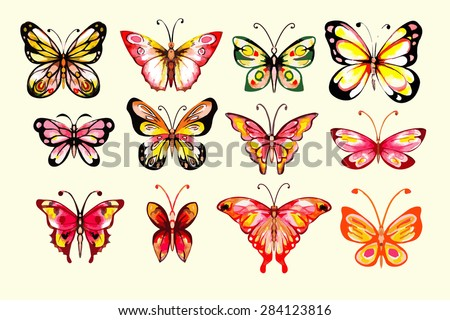 Watercolor butterflies set. Handdrawn. Isolated.  Warm colors.