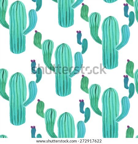 Watercolor cactus plant seamless pattern