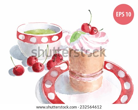 watercolor cake on dish with cup of green tea, painting food - stock vector