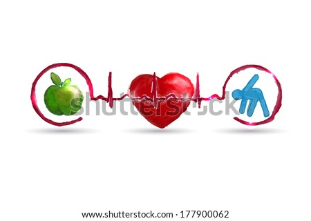 Watercolor Cardiology health care symbols connected with heart beat rhythm. Healthy living concept. Healthy food and fitness leads to healthy heart and life.  - stock vector