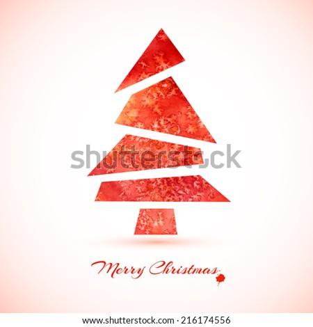 Watercolor Christmas card with christmas tree - stock vector
