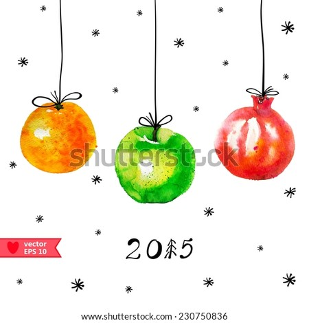 Watercolor Christmas decorations with fruits - stock vector