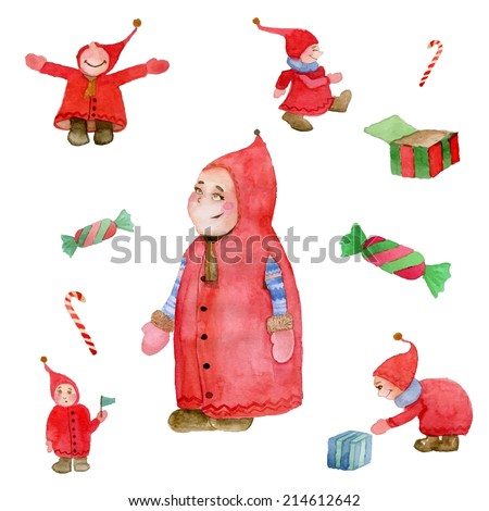 Watercolor Christmas elf illustration set. Vector - stock vector