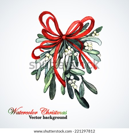Watercolor Christmas sprig of mistletoe. Hand painting. Watercolor. Illustration for greeting cards, invitations, and other printing projects. - stock vector