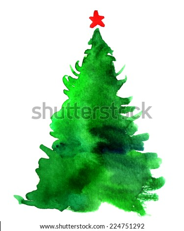 Watercolor Christmas tree isolated on a white background  - stock vector