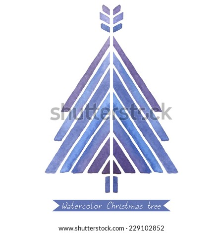 Watercolor Christmas tree. Vector illustration with stylized mosaic Christmas tree. - stock vector