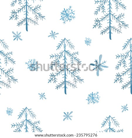 Watercolor Christmas trees and snowflakes pattern. Winter seamless texture on white background