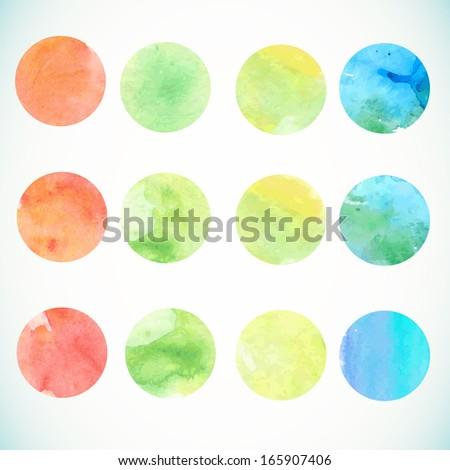 Watercolor circle design elements - stock vector