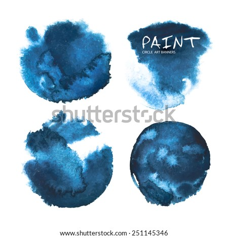 Watercolor circle paint stains. Vector illustration - stock vector