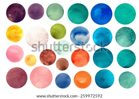 Watercolor circle textures. Mega-useful pack for you to drag and drop onto your designs. Perfect for branding, greetings, websites, digital media, invites and so much more. Bright color vector - stock vector