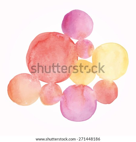 Watercolor circles. Bright pink and yellow watercolor painted background. - stock vector