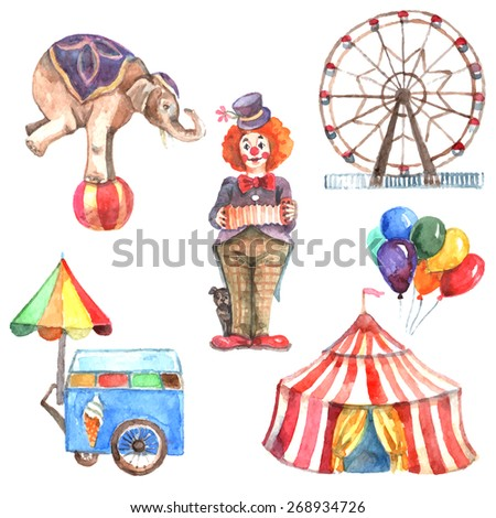 Watercolor circus decorative icons set with elephant clown and ferris wheel isolated vector illustration - stock vector