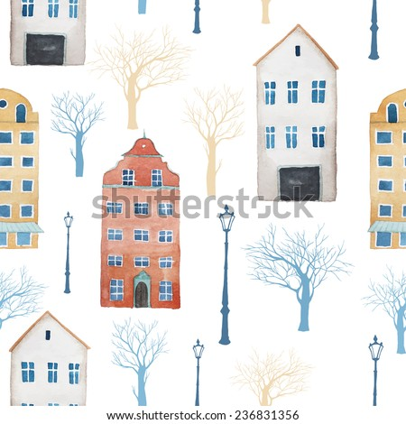 Watercolor city of Europe pattern. Seamless texture with buildings, trees, lamps. White background  - stock vector