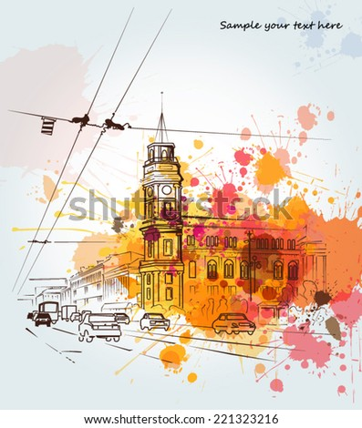 Watercolor city sketch - stock vector