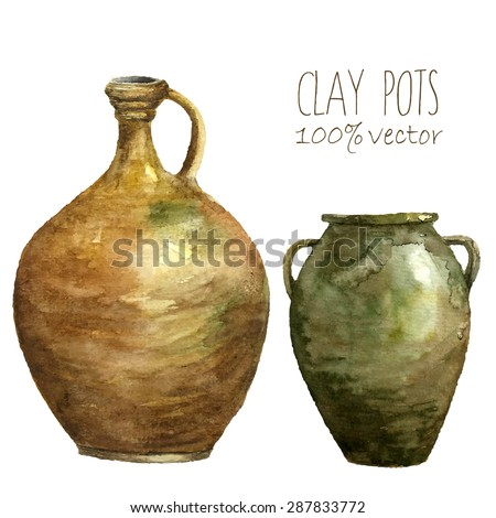 Watercolor clay pots. Hand draw isolated illustrations on white background. Vector art. - stock vector