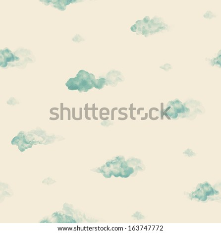 Watercolor clouds. Seamless pattern - stock vector