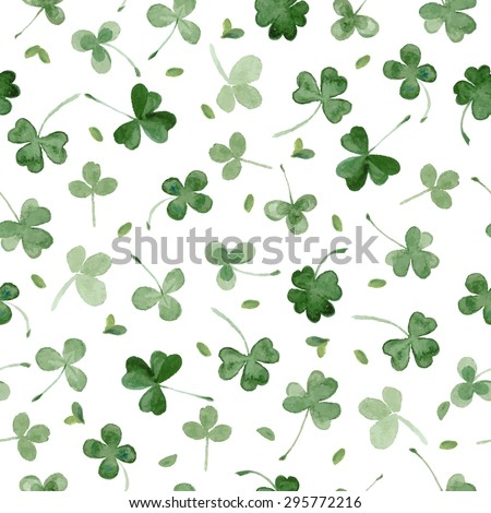 Watercolor clover seamless vector pattern. Leaves for St Patrick's day - stock vector