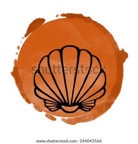 Watercolor coffee circle paint stain and black sea shell icon closeup isolated on a white background, art logo design  - stock vector