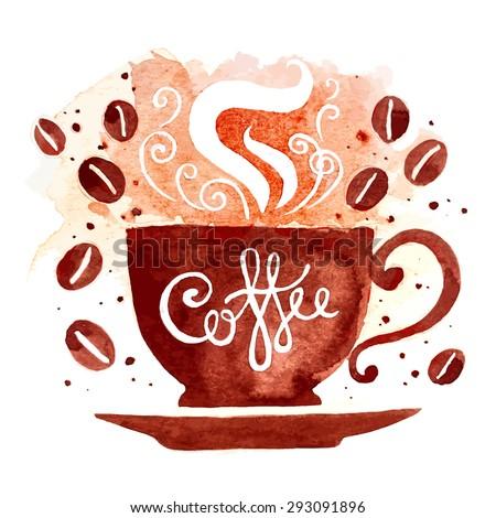 watercolor coffee cup - stock vector