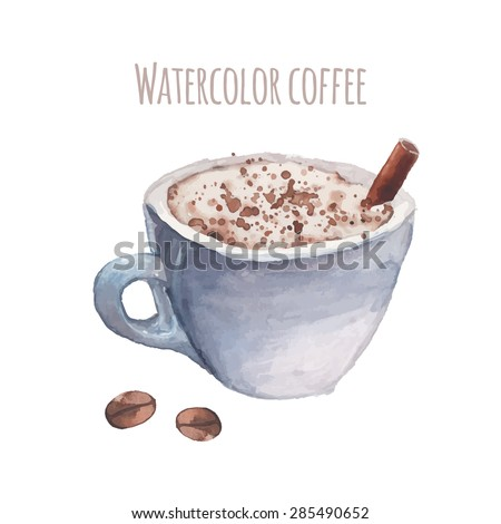 Drink me watercolor vintage bottle antique stock vector for Coffee watercolor