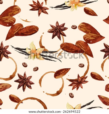 Watercolor coffee pattern with coffee beans and nuts, seamless illustration - stock vector