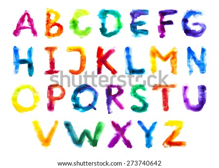Watercolor colorful alphabet. Grunge handwritten type set. Rough vector painted font. Rainbow letters. Vector illustration.