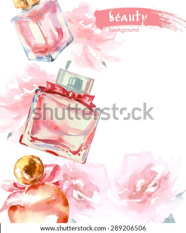 Watercolor  cosmetics background  with   Beautiful perfume bottle. Vector illustration. - stock vector