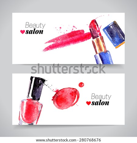 Watercolor cosmetics banner set. Vector beauty illustration - stock vector