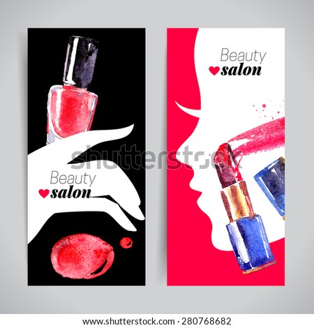 Watercolor cosmetics banner set. Vector illustration. Beauty salon design - stock vector