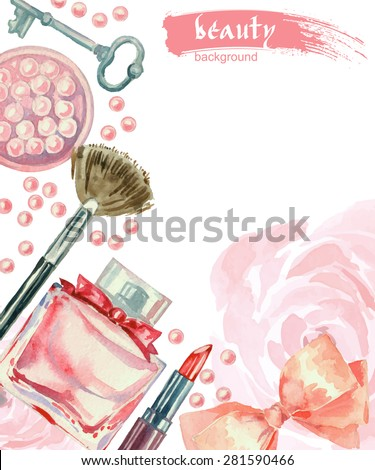 Watercolor cosmetics pattern. Hand painted seamless texture with make up artist objects: lipstick, blush, bow, key, brushes. Vector beauty background - stock vector