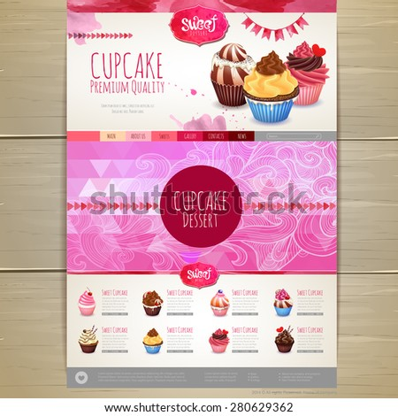 Watercolor Cupcake dessert design. Corporate identity. Web site design - stock vector
