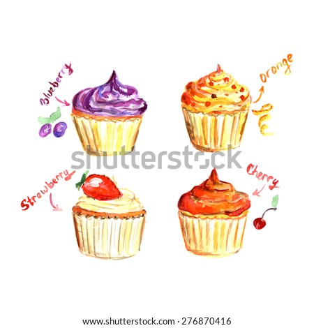 Watercolor cupcake set with different fillings: blueberry, orange, strawberry, cherry. Vector illustration