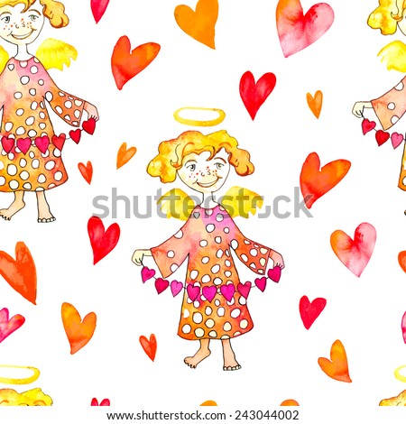 Watercolor Cupid with hearts. Watercolor pattern. Angel with a garland of hearts. Valentine'S Day.Vector. - stock vector