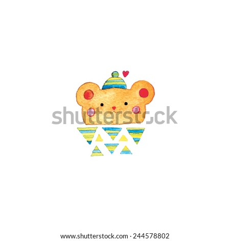 watercolor cute bear and red heart. vector illustration. - stock vector