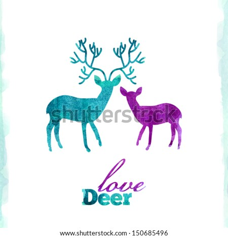 Watercolor deer's love, VECTOR artistic illustration - stock vector