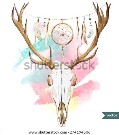 watercolor deer skull. Vector illustration in style bohemian - stock vector