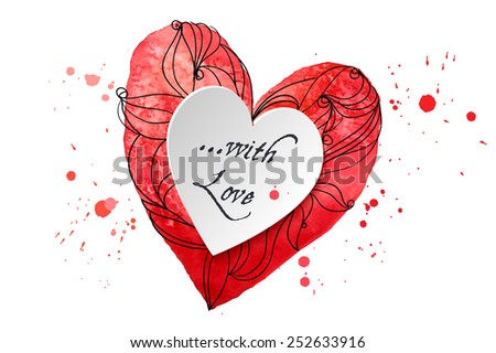 Watercolor design element heart for the realization of your best ideas. - stock vector
