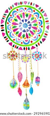 Watercolor Dreamcatcher for beautiful design, boho chic, ethnic, Vector - stock vector