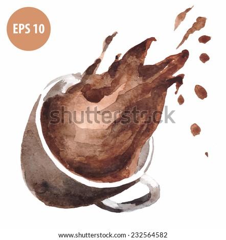 watercolor drop coffee,brown mug - stock vector