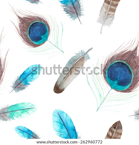 Watercolor exotic feathers seamless pattern. Hand painted texture. Vector repeating background - stock vector