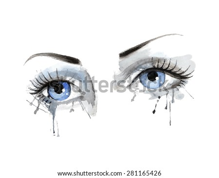 Watercolor eye, vector, illustration, freehand, beautiful female eye with watercolor grunge background