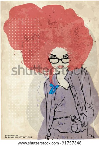 watercolor fashion illustration girl - stock vector