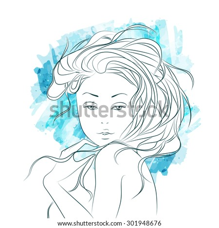 Watercolor Fashion Woman with long hair. Vector Illustration. Stylish Design for Beauty Salon Flyer or Banner. Girl Silhouette. Cosmetics. Beauty. Health and spa. Fashion themes. - stock vector