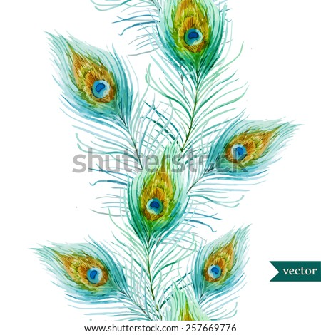 watercolor, feathers, peacock, pattern, wallpaper - stock vector