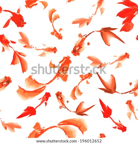 Watercolor fish seamless pattern can be used for wallpaper, website background, textile printing - stock vector